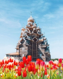 This th century church in Kizhi Island in Russia was made entirely of interlocking wood pieces and no nails