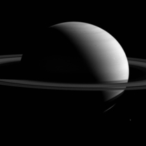 This view of Saturn looks toward the sunlit side of the rings from about  degrees above the ring plane