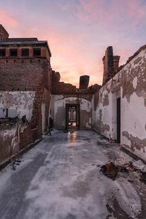 This  year old state hospital was a victim of arson recently but now provides stunning sunset views