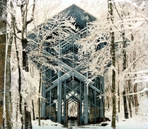 Thorncrown chaple in the snow Eureka Springs Arkansas USA More pics inside