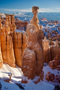 Thors Hammer Lit Up by the Snow - Bryce Canyon National Park Utah