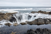 Thors Well at morning high tide in Yachats Oregon