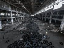 Thousands of tires lined the multiple areas of this auto plant in Detroit Soon it will be torn down