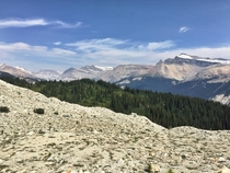 Three biomes as seen from the Iceline trail in Yoho National Park British Columbia