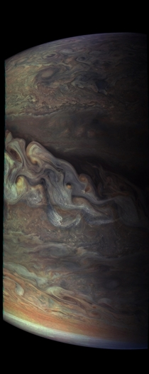Three-dimensional Jovian cloudscape courtesy of NASAs Juno spacecraft