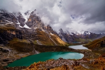 Three lakes in the Andes of Peru