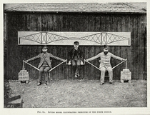 Three men demonstrating the principle of a cantilever bridge