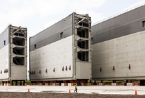 Three of the massive new lock doors for the expanded Panama Canal