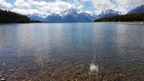 Throwing pebbles at the Grand Tetons Wyoming