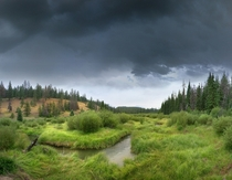 Thunderstorm bearing down on Wabasso Creek on the Valley of the Five Lakes Trail in Jasper National Park Alberta  by Ron Richey