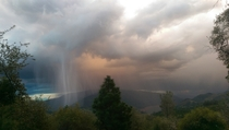 Thunderstorm hailburst over the Feather River Canyon Northern California