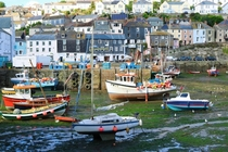 Tide is Out in Mevagissey Harbour Cornwall UK