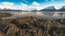 Tidewater rocks of Turnagain Arm revealed at low tide