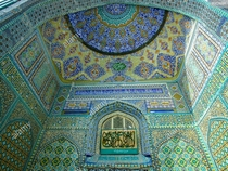 Tilework detail of the Blue Mosque in Mazar-e Sharif Afghanistan