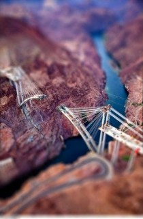 Tilt shift image of bridge construction