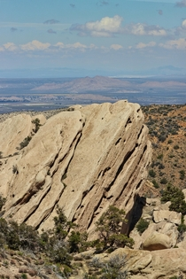 Tilted sandstone formations jumbled by the nearby San Andreas Fault Devils Punchbowl CA US