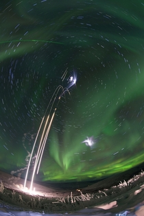 Time lapse composite photo of four NASA suborbital sounding rockets launched from the University of Alaskas Poker Flat Research Range on Jan th