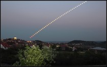 Timelapse partial lunar eclipse over Lake Balaton Hungary last week