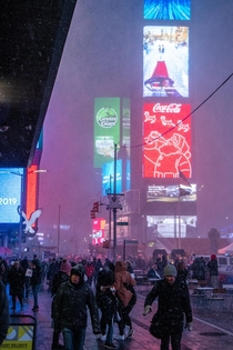 Times Square during a surprise snowstorm