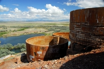Tintic Standard Reduction Mill by DT Brimhall  on the side of Warm Springs Mountain near Goshen Utah