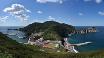 Tiny seaside village in Hongdo Island Sinan County South Jeolla Province South Korea