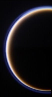 Titan crescent with striking haze layer visible