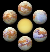Titan in visible light vs Titan in infrared Captured by Cassini Spacecraft Credit NASA ESA