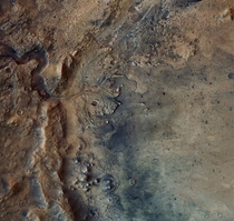 Today NASAs Perseverance Rover will make a bold attempt to land at the foot of this ancient river delta on Mars - Good Luck