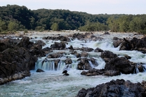 Todays thunderstorms gave me a nice aqua color to the waterfalls Great Falls Park VA