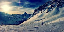 Todays view of the slopes with the beautiful Matterhorn in the horizon Zermatt Switzerland