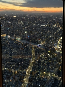Tokyo at sunset from the top of the world
