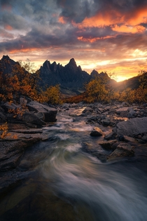 Tombstone Mountain during an incredible sunset OC  ross_schram
