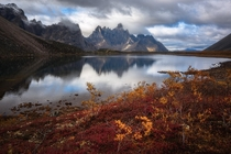 Tombstone mountain in Autumn Yukon Territory Canada