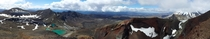 Tongariro National Park New Zealand lakes and red crater panorama
