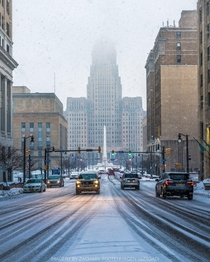 Tonights Sunset Snowfall in downtown Buffalo New York