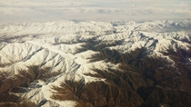 Took a photo of the Ural Mountains on a clear day from the plane today