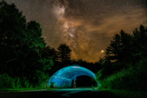 Took a picture of the Milky Way while my girlfriend stood in an underpass with a headlamp looking up edited in Lightroom Devils Lake State Park Wisconsin