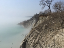 Took a picture of the misty Scarborough Bluffs in Scarborough Ontario today