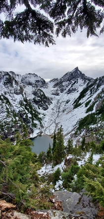 Took a slightly snowy hike last weekend to this beautiful place Was definitely worth the wet feet on the way down Gothic Basin WA