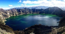 Took  days to hike up to this volcanic crater lake at m- Laguna Quilotoa in Ecuador last week completely worth it for this view you can kayak in the lake too x OC