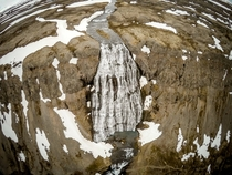 Took my drone to Iceland This was my favorite waterfall named Dynjandi