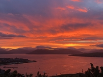 Took this fiery sunset pic  days ago in Greenock SCOTLAND