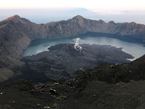 Took this from the top of Mount Rinjani Indonesia Hands down THE most taxing experience of my life The view of an active still smoking volcano made it worth the effort though