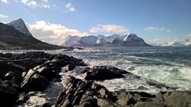 Took this photo a couple of days ago while hiking in Lofoten Norway Took it with my smartphone No filters or anything