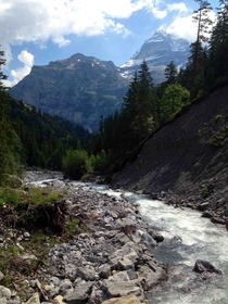 Took this with my iPhone hiking through the Swiss Alps Most beautiful place Ive ever been