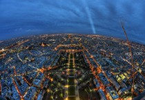 Top of Paris Eiffel Tower from a fisheye