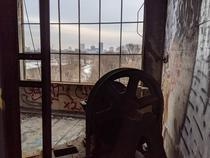 Top of the elevator shaft in an abandoned factory