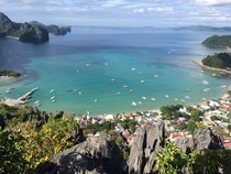 Top of the most intense hike Ive ever done Overlooking beautiful El Nido Palawan