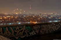 Toronto Canada on a foggy night