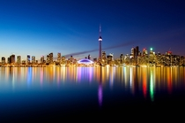 Toronto Skyline at night from the Island